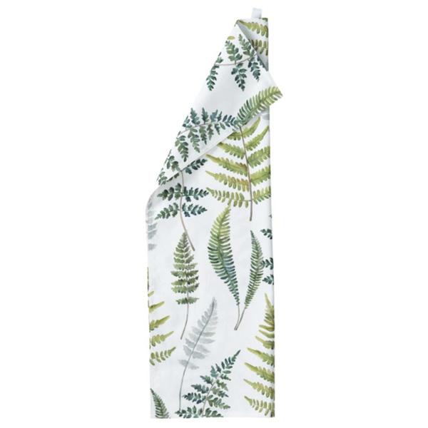 Theedoek van Klippan, met groene bladeren, wit doek